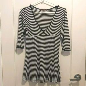 Velvet Black & White Stripe Long-sleeved Tunic
